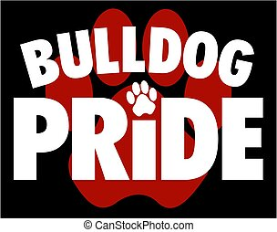 bulldog pride design with large paw print in background for school, college or league