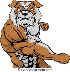 Bulldog Punching - Tough mean muscular bulldog character or...