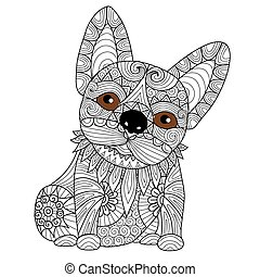 Bulldog puppy coloring page - Hand drawn zentangle french...
