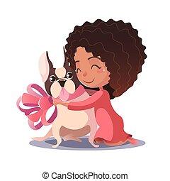 bulldog, ragazza, poco, abbracciare, francese