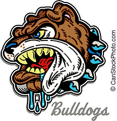 bulldog, ringhiare, mascotte