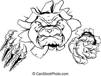 Bulldog sports mascot or character smashing out of background