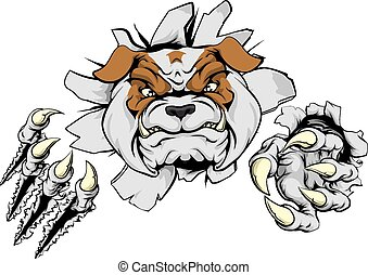 An illustration of a tough looking bulldog animal sports mascot or character breaking through