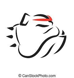 bulldog, ritratto, vettore, mascotte