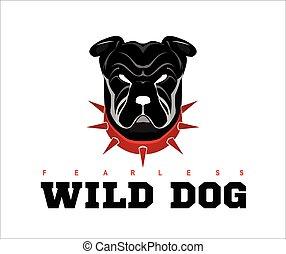 Bulldog. rottweiler. - Dog head. Wild dog. Black wild dog. ...
