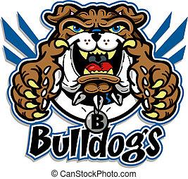 bulldog, schattig, mascotte