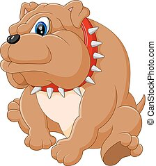 bulldog, schattig, spotprent