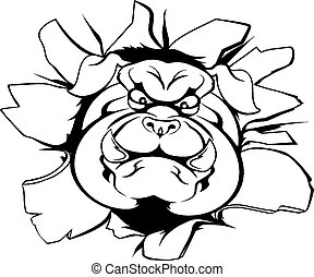 bulldog, sfondamento, mascotte