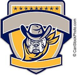 Bulldog Sheriff Cowboy Head Shield Retro