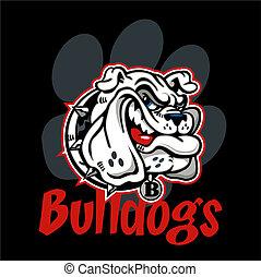 bulldog, smirking, mascotte