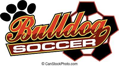 bulldog soccer team design in script with tail for school,...