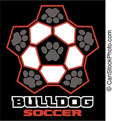 bulldog soccer team design with paw prints for school,...