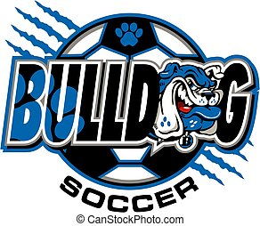 bulldog soccer team design with mascot face and ball for...