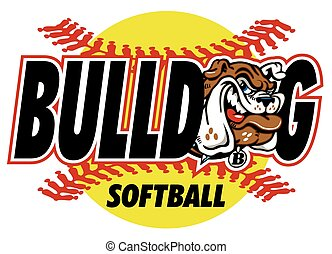 bulldog softball design with mascot and red stitches