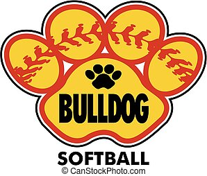 bulldog softball design with stitches inside paw print