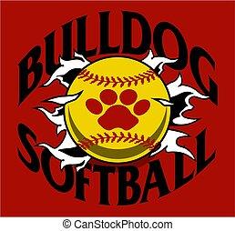 bulldog softball team design with ball and paw print ripping...