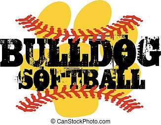 bulldog softball with paw print and red stitches