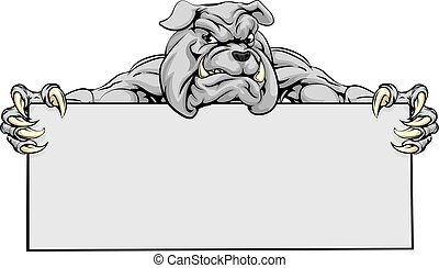 Bulldog Sports Mascot Sign - A mean looking bulldog mascot...