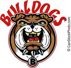 bulldog, spotprent, mascotte