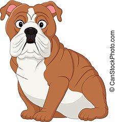 bulldog, spotprent, zittende