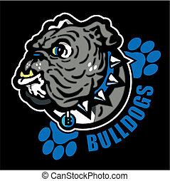 bulldog, stampe, inglese, zampa