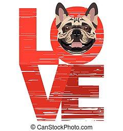 bulldog, szeret, francia