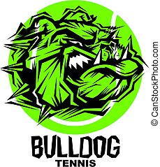 bulldog tennis team design with mascot head inside ball for...