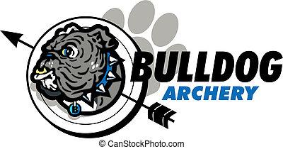bulldog, tiro al arco, diseño