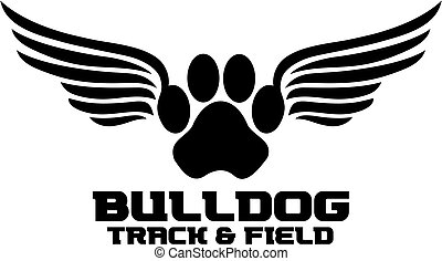 bulldog track and field team design with paw print and wings...