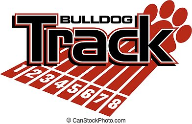 bulldog track and field team design with track lanes and paw print