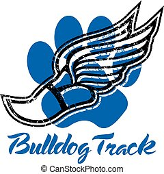bulldog track design with winged foot and paw print