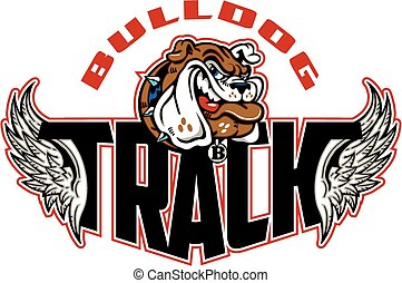 bulldog track design with mascot head and wings