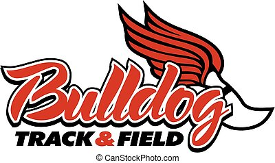 bulldog track & field design with winged foot