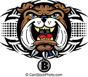 bulldog, tribal, diseño, mascota