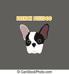 bulldog, vector, dog, franse