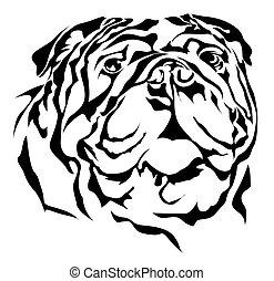 Bulldog vector silhouette on white background
