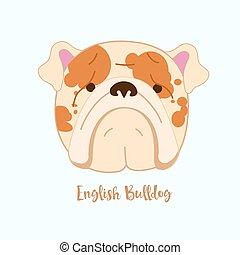 bulldog, vettore, cane, inglese
