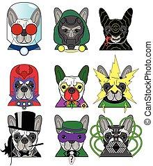 bulldog, villains, francés, iconos
