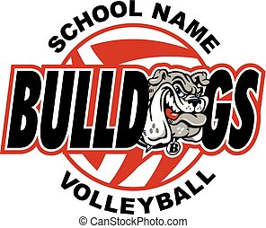 bulldog volleyball design with mascot head and ball