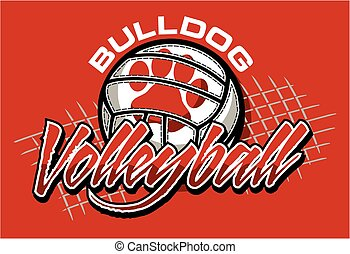 bulldog volleyball team design with ball and net for school...