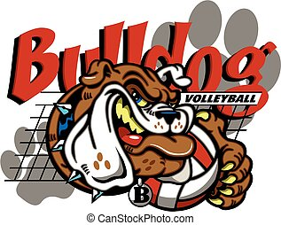bulldog volleyball team design with mascot and net for ...