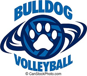 bulldog volleyball team design with paw print inside ball...