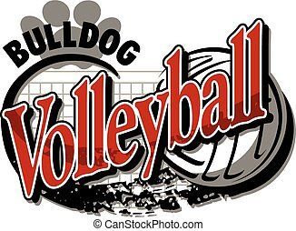 bulldog volleyball team design with ball and paw print