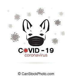 Bulldog wearing a mask to protect against the covid-19 virus. Breathing mask on dog face flat vector icon for apps and websites.