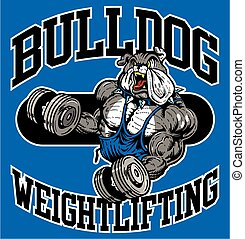 bulldog weightlifting team design with muscular mascot for...