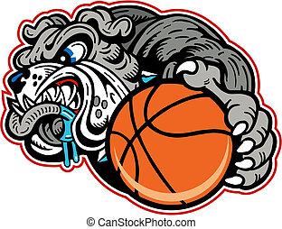 bulldog with basketball