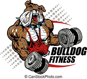 bulldog with dumbbells