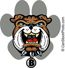 bulldog with paw print