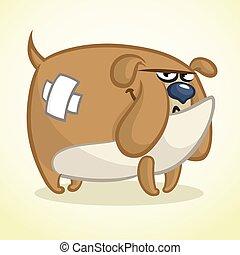 bulldog., zeichen, hund, abbildung, vektor, reizend, karikatur