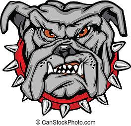 bulldogg, tecknad film, ansikte, vektor